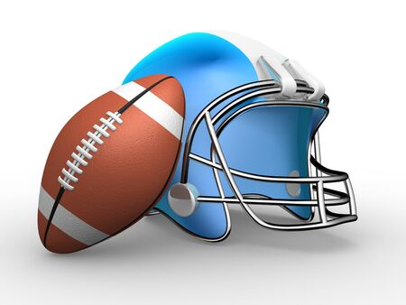afc: American football. Helmet and ball. 3d render illustration Stock Photo