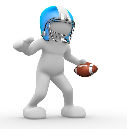 abstract figures: 3d people - human character, person with helmet and ball. American football player. 3d render