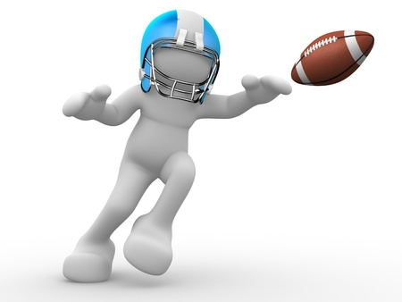 gridiron: 3d people - human character, person with helmet and ball. American football player. 3d render