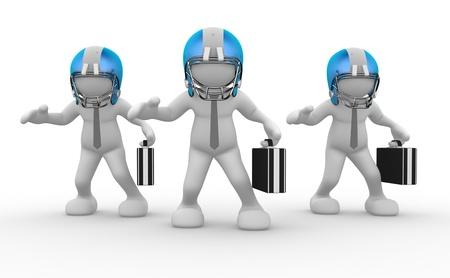 jugadores de futbol: La gente 3d - el car�cter humano, persona con casco y un malet�n. Jugador de f�tbol americano. Hombre de negocios. 3d