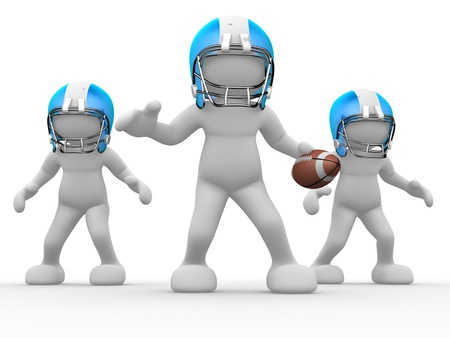 uniforme de futbol: La gente 3d - el car�cter humano, persona con casco y la pelota. Jugador de f�tbol americano. Juego. 3d