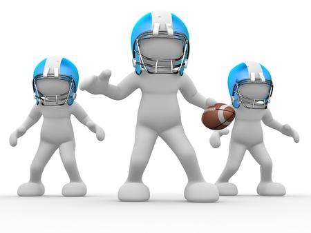 marionetta: Persone 3d - carattere umano, persona con il casco e la sfera. Giocatore di football americano. Gioco. 3d rendering Archivio Fotografico
