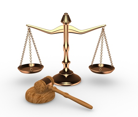 legal scales: Scales justice and hammer ( gavel). 3d render Stock Photo