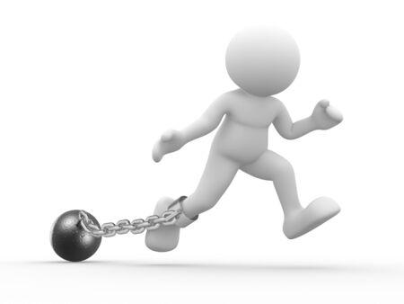gefangener: 3d Leute - menschliches Zeichen, Person mit einer Kette Kugel. Prisoner. 3d render