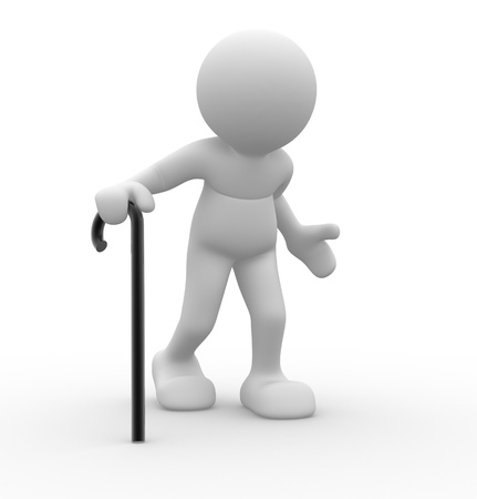 3d people - human character , person supported by a stick. Grandfather . 3d render Stock Photo - 14799992