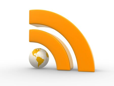 podcast: Orange RSS symbol and Earth globe.  3d render illustration