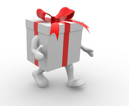 Gift box with red  ribbon. 3d render illustration illustration