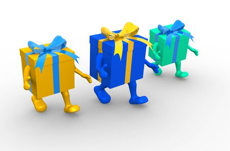 Colored gift boxes with ribbon. 3d render illustration illustration