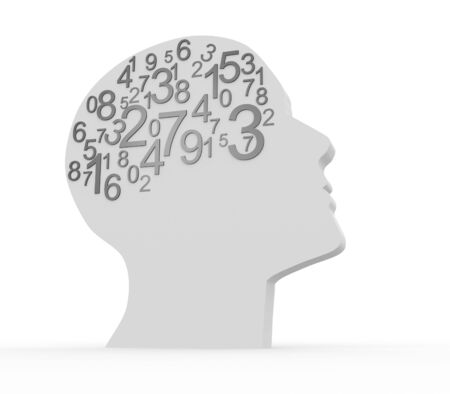 mathematician: Human head and numbers . 3d render illustration