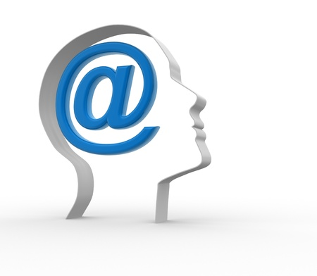 spam mail: Human head with email icon.  3d render illustration