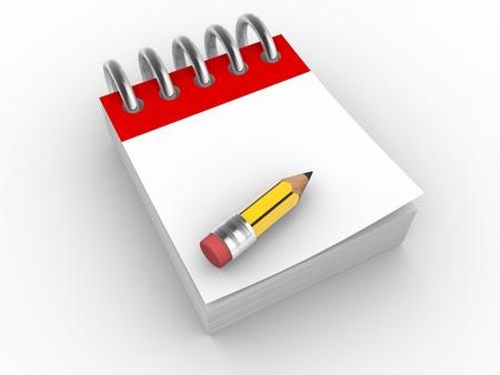 school agenda: Un lápiz y un cuaderno. 3d hacer ilustración Foto de archivo