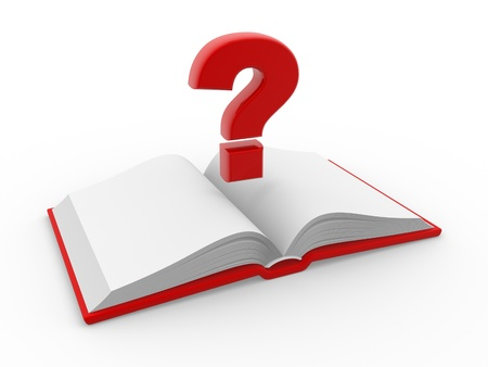 punctuation mark: Blank open book and a question mark. 3d render illustration Stock Photo