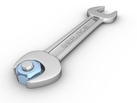 technical service: Wrench and screw-nut on white background. 3d render illustration