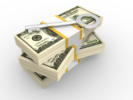 money pile: Stacks of dollars and key to success. 3d render illustration Stock Photo