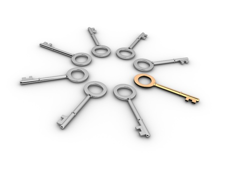 Keys with  one different key. 3d render illustration