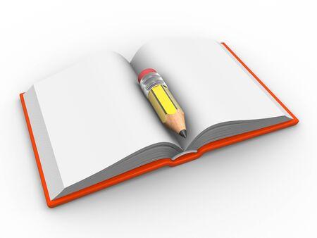 Libro abierto en blanco y un l�piz. 3d hacer ilustraci�n Foto de archivo - 14802529