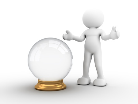 3d people - human character with a crystal ball. 3d render illustration Stock Photo