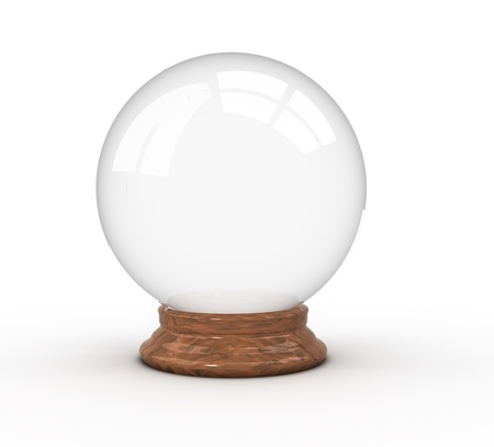 crystal ball: 3d render illustration of a crystal ball over white