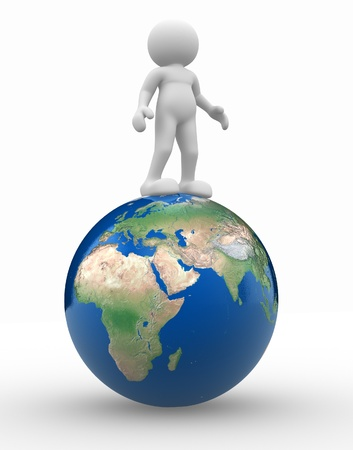 save earth: 3d people - human character and earth globe. 3d render illustration