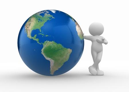 planeta tierra feliz: La gente 3d - de car�cter humano y globo terr�queo. 3d hacer ilustraci�n Foto de archivo