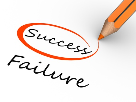 failure sign:  Choosing between success and failure. 3d render illustration