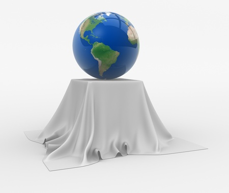 Earth globe sitting on a table cloth. 3d render illustration illustration