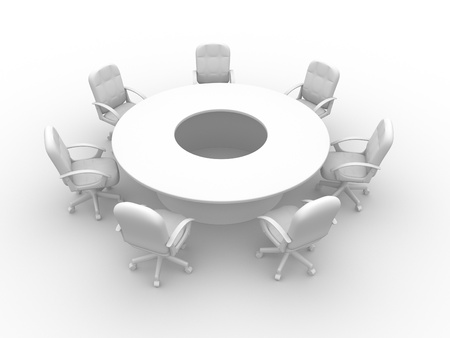 round chairs: A round conference table with chairs - 3d render  Stock Photo