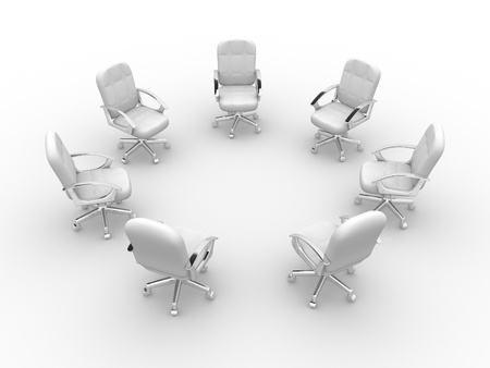 Office chairs in circle.  This is a 3d render illustration  illustration