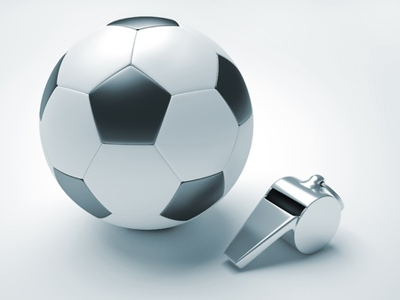 A fotball and a whistle - 3d render illustration illustration
