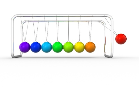 3d render of Newtons cradle on white background. 3d render illustration illustration