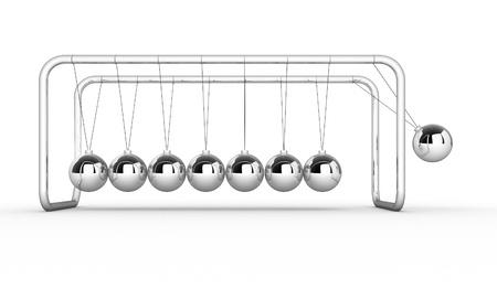 gravity: 3d render of Newtons cradle on white background. 3d render illustration