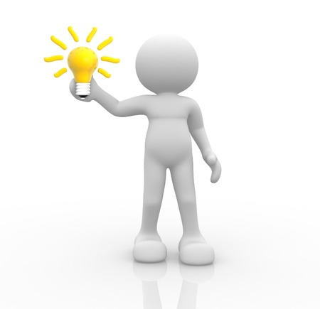3d people- human character with a light bulb - 3d render illustration  Stock Illustration - 14800255