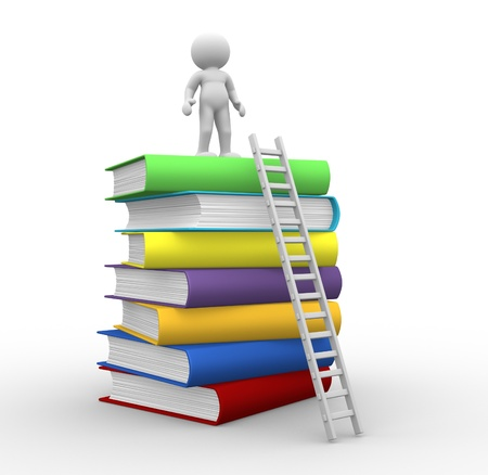literatures: 3d people - human character ,  person with books and a ladder.  3d render illustration