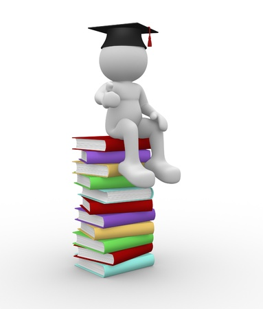 degrees: 3d people - human character  person with books and  graduation cap. 3d render illustration  Stock Photo