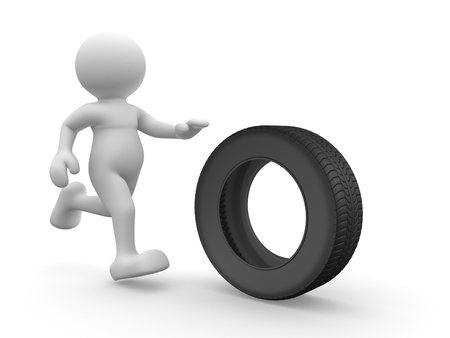 3d people - human character with car tire. 3d render illustration   illustration