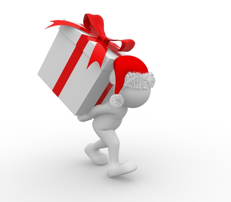 3d people - human character Santa Claus with box of gifts. 3d render illustration Stock Illustration - 14801515