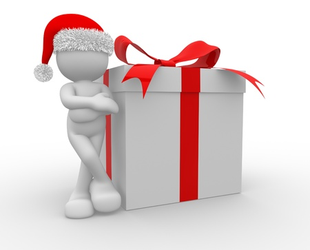 happy newyear: 3d people - human character Santa Claus with box of gifts. 3d render illustration  Stock Photo