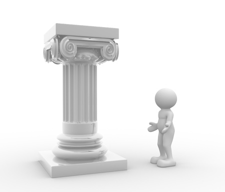 foundation: 3d people - human character and roman column. 3d render illustration