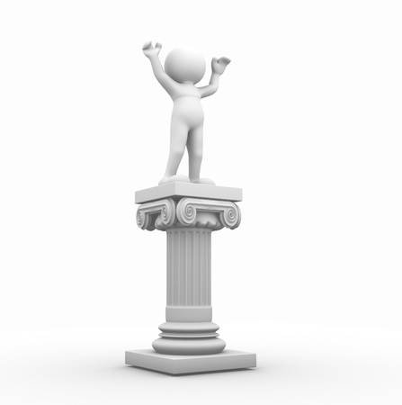 strong foundation: 3d people - human character and roman column. 3d render illustration