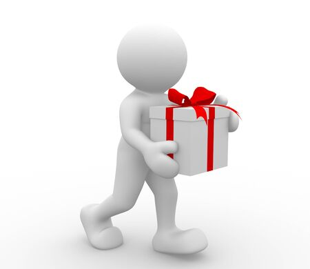 3d people - human character with box of gifts. 3d render illustration Stock Illustration - 14801045