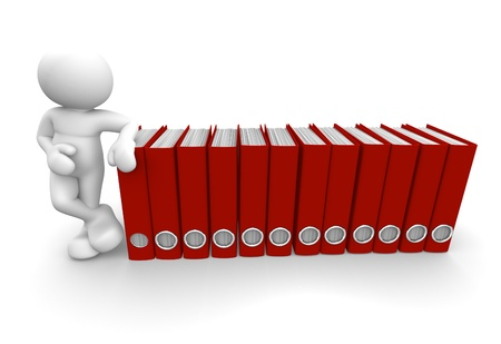 3d people - human character and archive folders. 3d render illustration Stock Illustration - 14801959