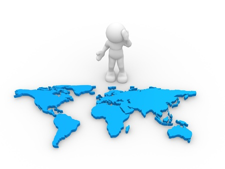 discover: 3d people - human character with the world map - This is a 3d render illustration
