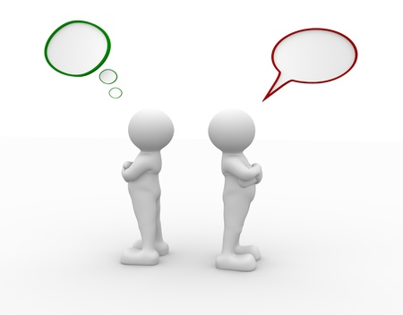 relationship problem: 3d people - human character - person  argue, conflict.  3d render illustration  Stock Photo