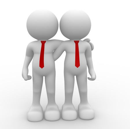 loyalty: 3d people - human character - person . Friends . 3d render illustration Stock Photo