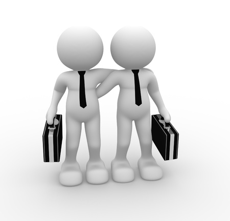 strong partnership: 3d people - human character - person.  Partnership, friends . 3d render illustration Stock Photo
