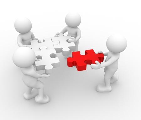 � teamwork: Persone 3d - carattere umano - a persona e un puzzle (puzzle). 3d rendering illustrazione Archivio Fotografico