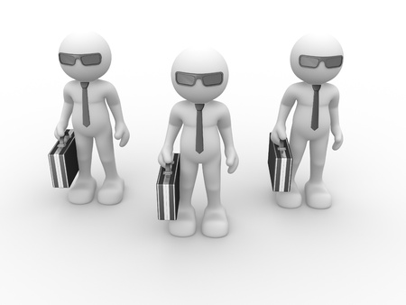 propose: 3d people - human character with briefcase and sunglasses. 3d render illustration  Stock Photo