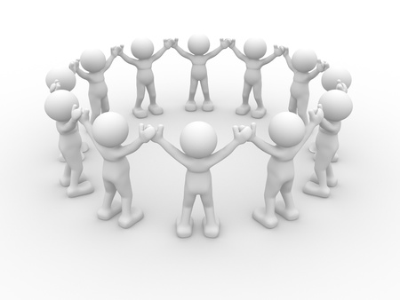3d circle: 3d people - human character, people in circle. This is a 3d render illustration