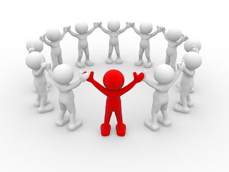 personnage: 3d les gens - caract�re humain, le leadership et les gens dans le cercle. C'est une illustration de rendu 3d