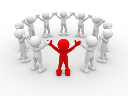 a character: 3d people - human character, leadership and people in circle. This is a 3d render illustration Stock Photo